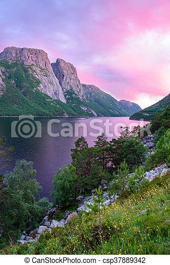 Purple sunset in Norway - csp37889342