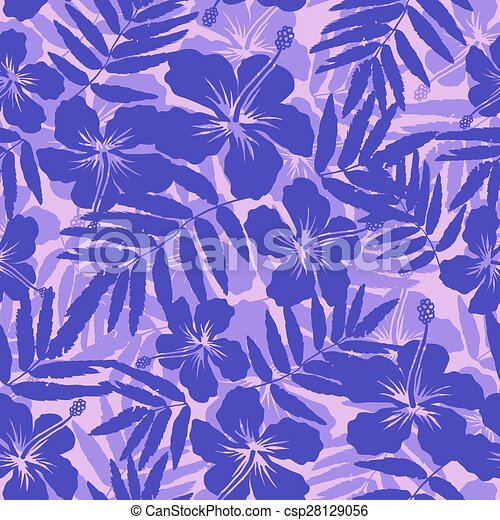 Purple Tropical Flowers Silhouettes Seamless Pattern Vector