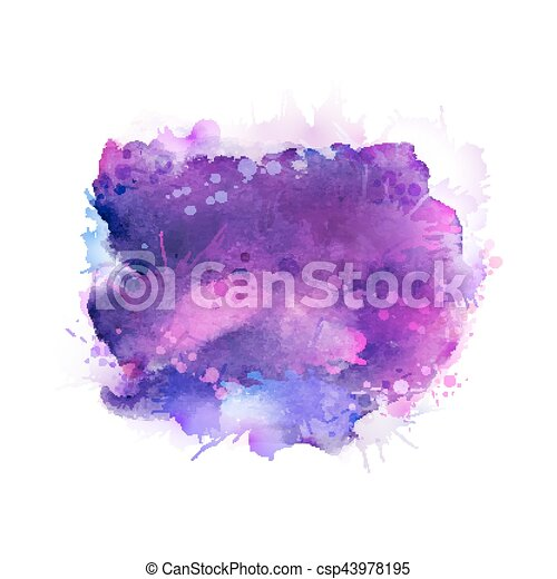 Purple, violet, lilac and blue watercolor stains. Bright color element for abstract artistic background. - csp43978195