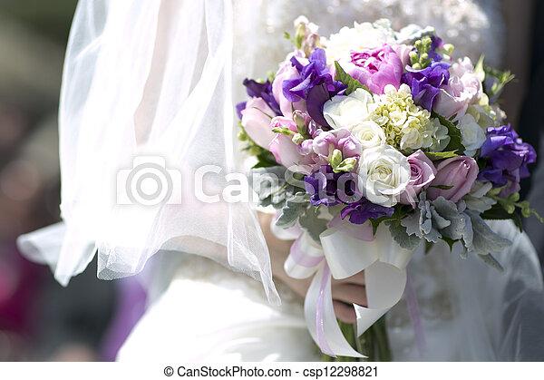Purple white wedding bouquet bride holding purple pink white and purple white wedding bouquet csp12298821 mightylinksfo