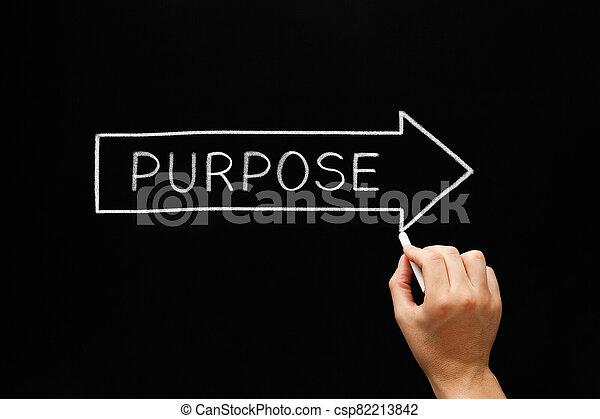 Purpose Following Arrow Concept On Blackboard - csp82213842