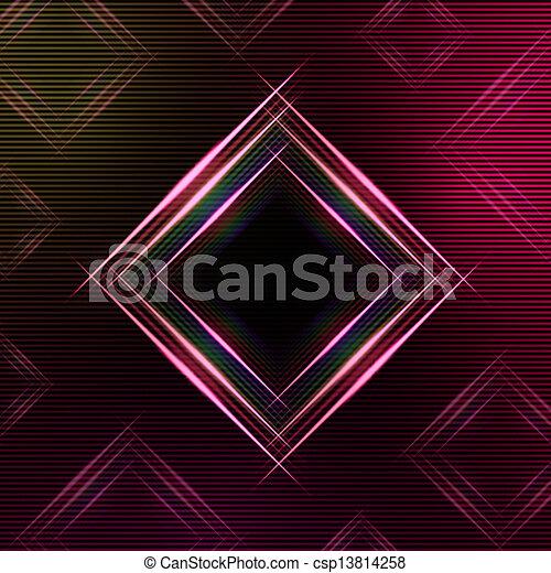 purpurowy, abstrakcyjny, wielobarwny, tło, kwadraty, lustrzany - csp13814258