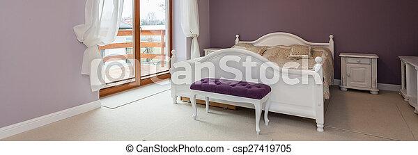 Purpurowy Biały Sypialnia Meble