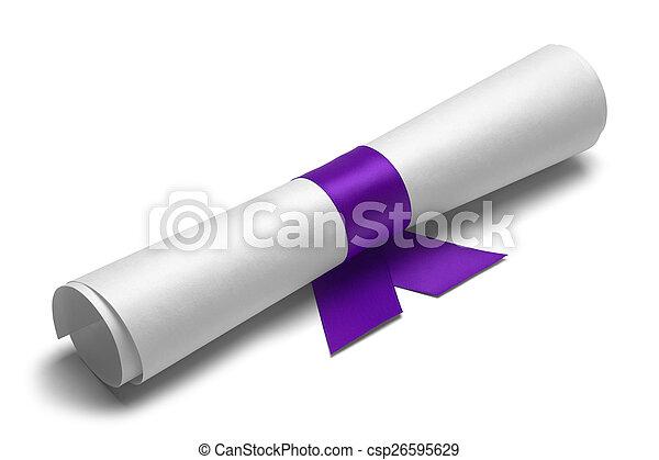 purpurowy, dyplom, wstążka - csp26595629