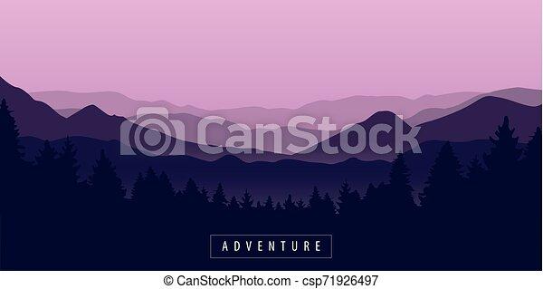 purpurowy, góra, przygoda, krajobraz, las - csp71926497