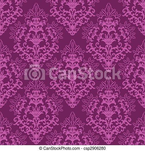 purpurowy, kwiatowy, tapeta, fuksja, seamless - csp2906280
