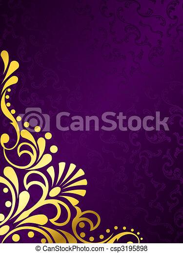 Purpurroter Hintergrund mit goldenem Filigran, vertikal - csp3195898