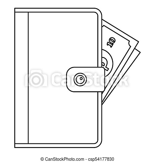 Purse icon, outline style. - csp54177830