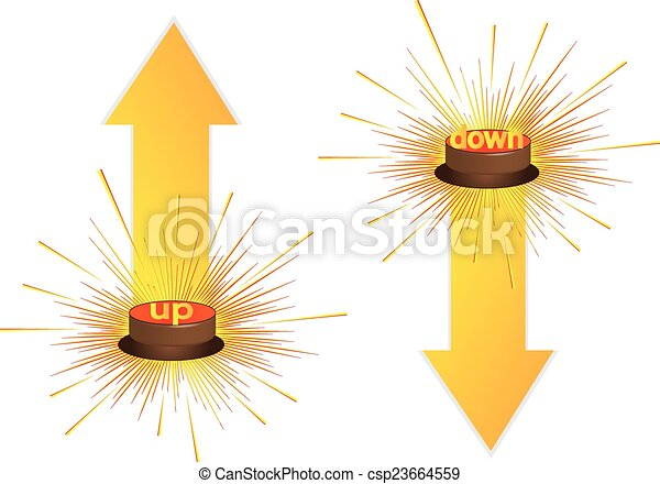 Push button, 3d red icon, vector. - csp23664559
