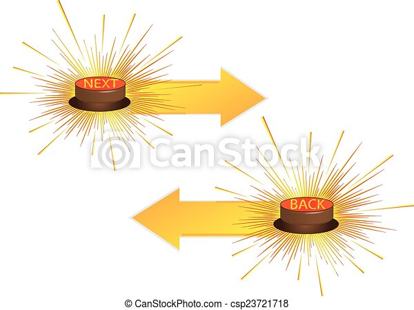 Push button, 3d red icon, vector. NEXT. BACK - csp23721718