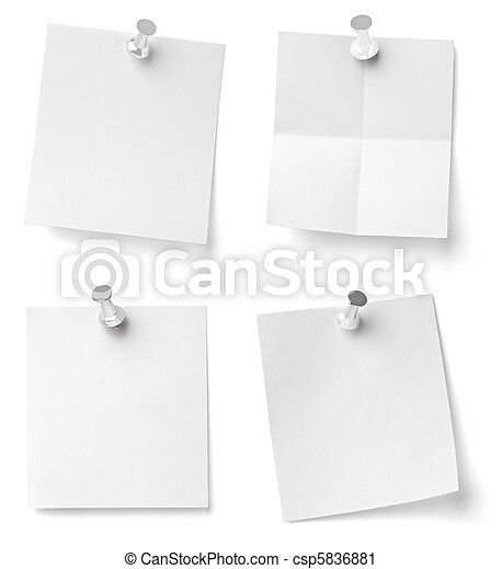 push pin and note paper office business - csp5836881