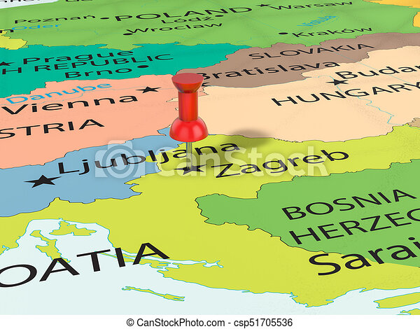 Pushpin on zagreb map background 3d illustration drawings Search