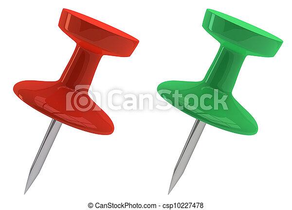 pushpins, verde vermelho - csp10227478