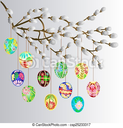 Pussy willow branch and easter eggs - csp25233317