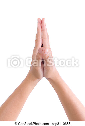 put hands together in salute - csp8110685