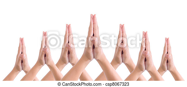 put hands together in salute - csp8067323
