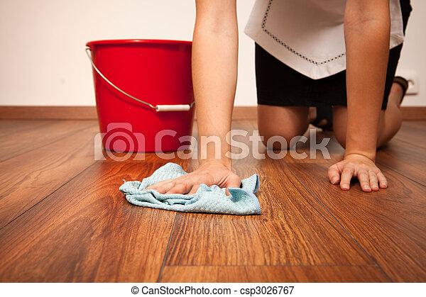 Blaues Tuch Frau Putzen Boden