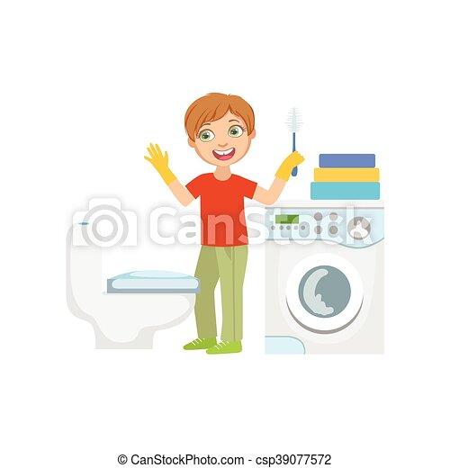putzen, junge, badezimmer, bürste, toilette