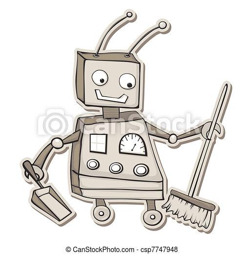 putzen roboter stil besen roboter karikatur retro. Black Bedroom Furniture Sets. Home Design Ideas