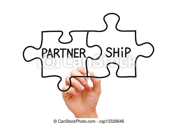 Partnerschafts-Puzzle-Konzept - csp13326646