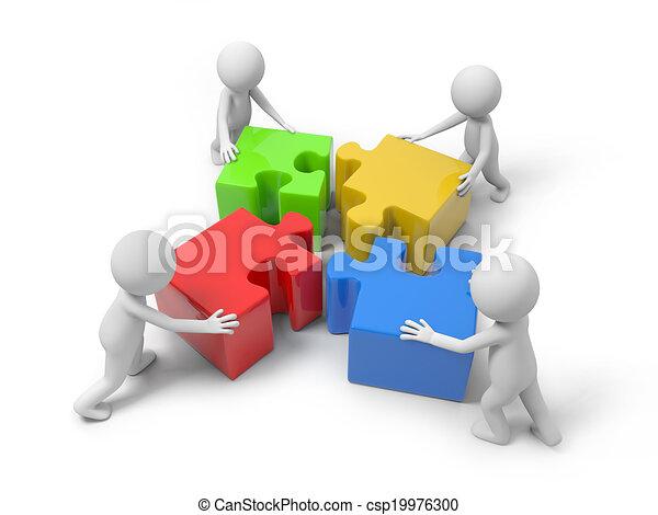 puzzel, mann, stücke - csp19976300