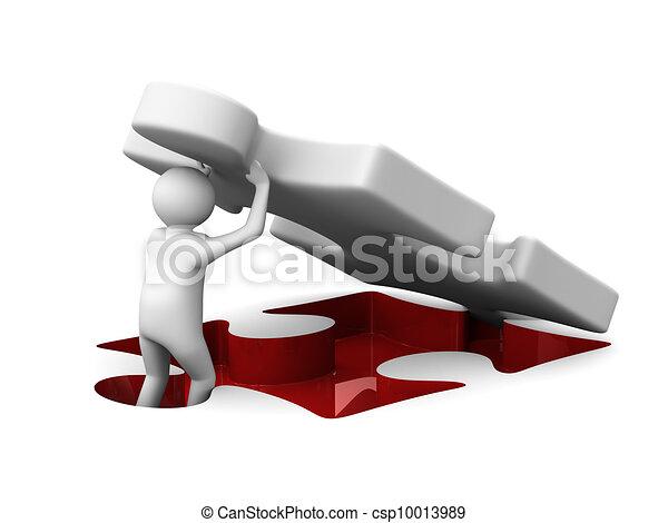 puzzl., avbild, 3, isolerat, man - csp10013989
