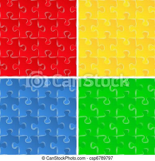 puzzle, arrière-plans, seamless - csp6789797