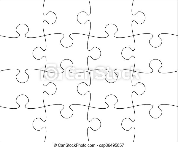 Puzzle blank template easy to edit vector illustration.