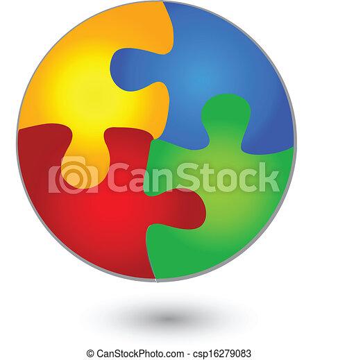 Puzzle circle in vivid colors logo  - csp16279083