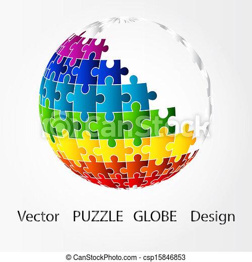 Puzzle disegno globo 3d 3d globo pezzo puzzle style for Disegno 3d free
