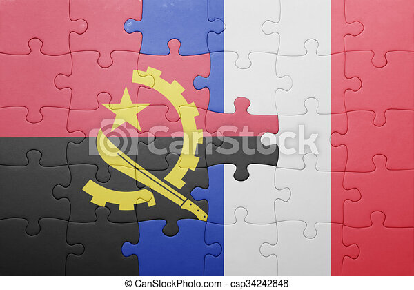 puzzle, drapeau angola, national, france - csp34242848