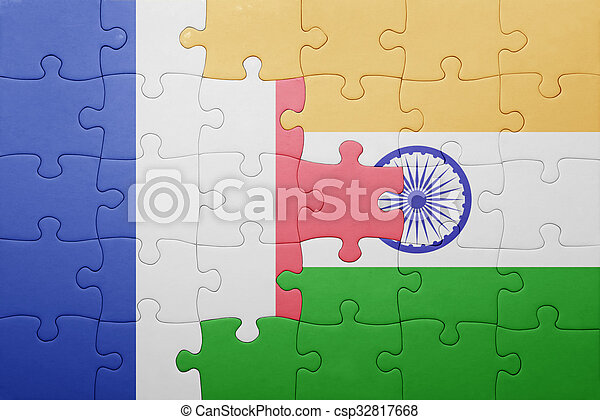 puzzle, drapeau inde, national, france - csp32817668