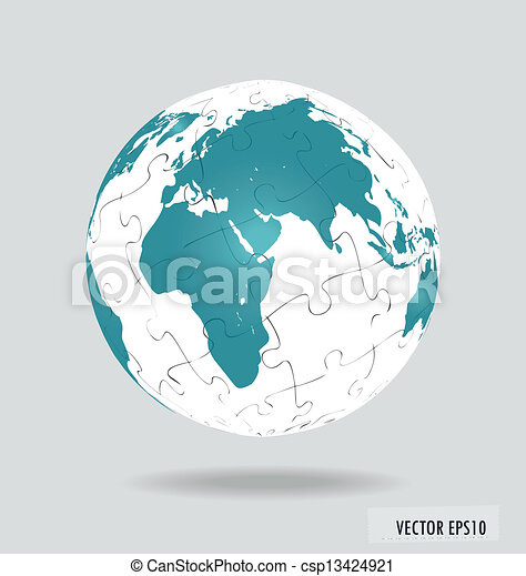 Puzzle globe. Vector illustration. - csp13424921