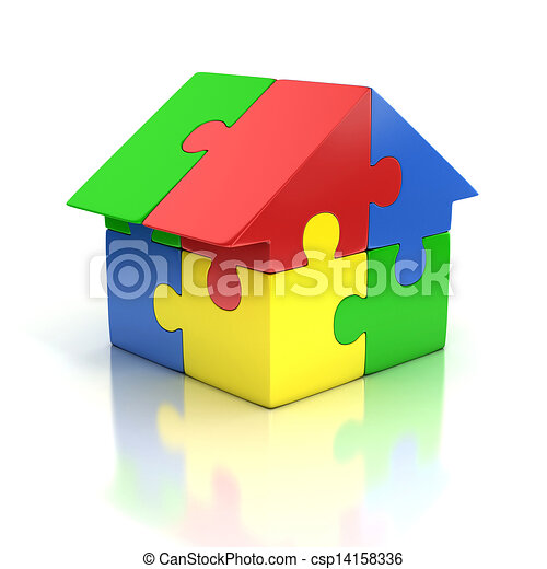 7edcaa8117 Puzzle house 3d illustration. Home