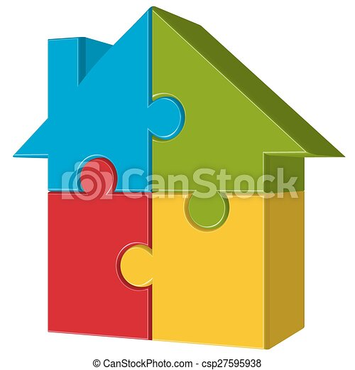 puzzle house with four parts - csp27595938