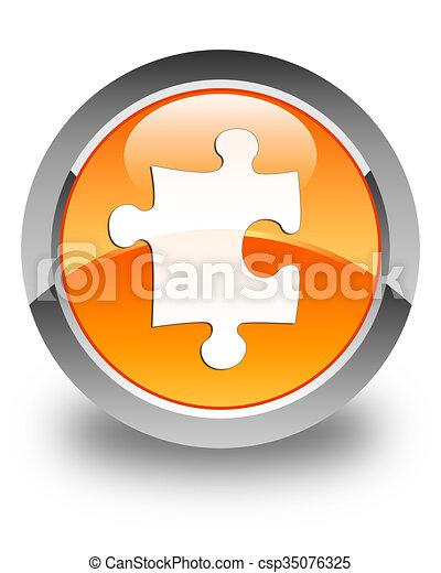 Puzzle icon glossy orange round button - csp35076325
