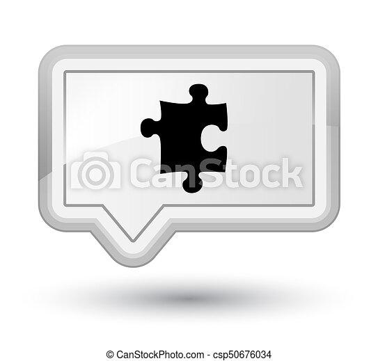 Puzzle icon prime white banner button - csp50676034