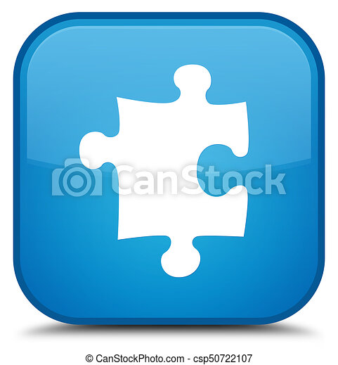 Puzzle icon special cyan blue square button - csp50722107