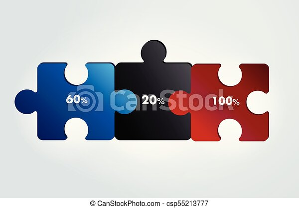 Puzzle infographic, 3 steps chart, template, scheme, tab  Vector  illustration