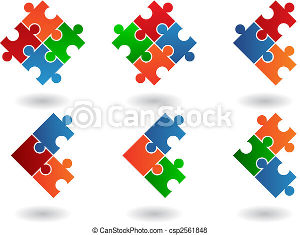 puzzle, jigsaw, icone - csp2561848