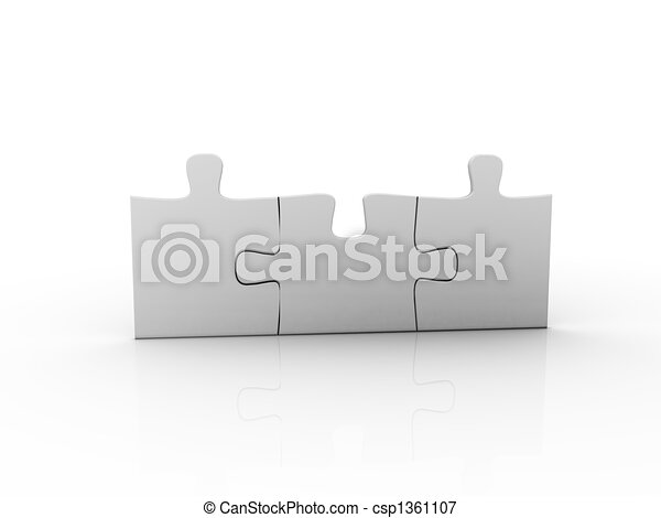 puzzle over a white background - csp1361107