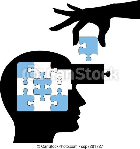 puzzle, persona, imparare, mente, soluzione, educazione - csp7281727