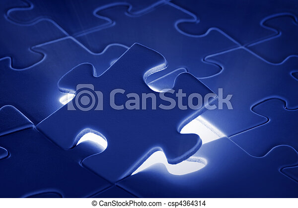puzzle piece coming down into it's place - csp4364314