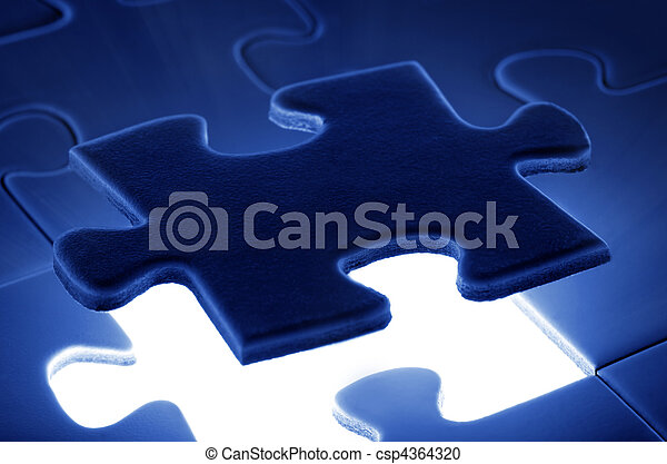 puzzle piece coming down into it's place. - csp4364320