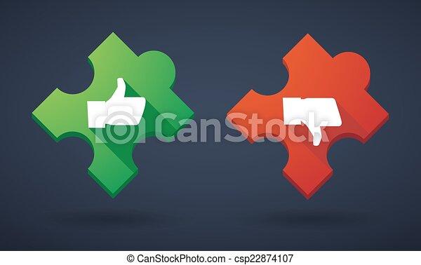 Puzzle piece icon set with survey icons - csp22874107