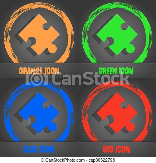 Puzzle piece icon sign. Fashionable modern style. In the orange, green, blue, red design. Vector - csp30522798