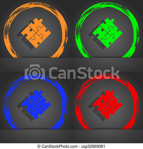 Puzzle piece icon sign. Fashionable modern style. In the orange, green, blue, red design. - csp32669081
