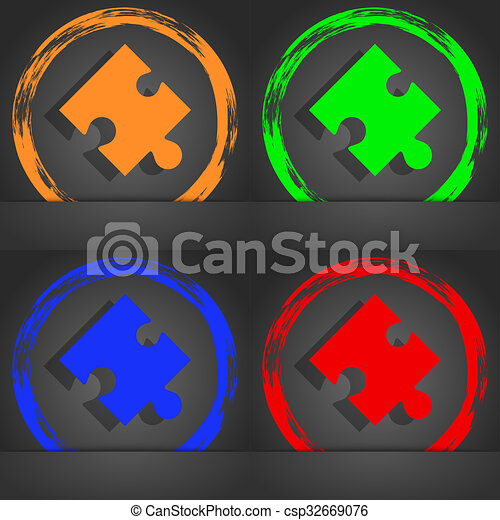 Puzzle piece icon sign. Fashionable modern style. In the orange, green, blue, red design. - csp32669076