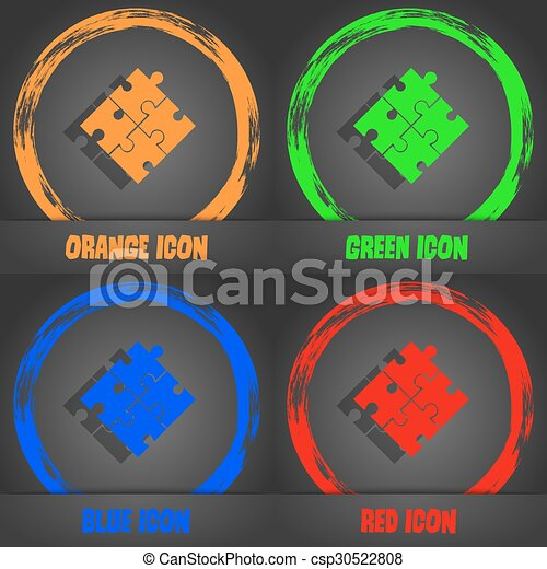 Puzzle piece icon sign. Fashionable modern style. In the orange, green, blue, red design. Vector - csp30522808