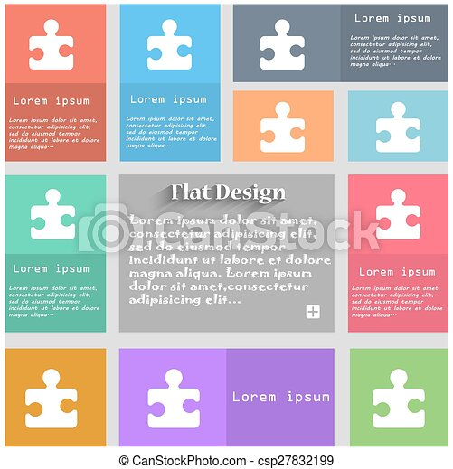 Puzzle piece icon sign. Set of multicolored buttons. Metro style with space for text. The Long Shadow Vector - csp27832199